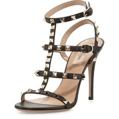 Valentino Rockstud Leather T-Strap 105mm Sandal (9 015 SEK) ❤ liked on Polyvore featuring shoes, sandals, nero, strappy high heel sandals, ankle strap high heel sandals, strap sandals, valentino shoes and strappy shoes