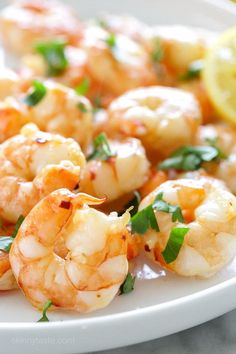 One of the quickest and easiest ways to prepare shrimp is to roast them in the oven (great for shrimp cocktail too!) You can prepare them so many different ways, but one of the simplest is with a drizzle of olive oil, garlic and fresh lemon juice. Serve it with roasted asparagus, over pasta, or over your favorite salad
