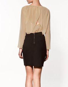 zara cape back blouse