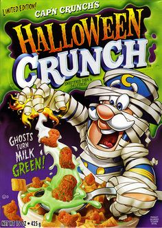 19 of The Best Halloween Cereals That Ever Existed ( Cap'n Crunch Halloween… Crunch Cereal, Granola Cereal, Cap'n Crunch, Halloween Treats, Fall Halloween, Halloween Rules, Halloween Camping, Halloween Humor, Cereal Packaging