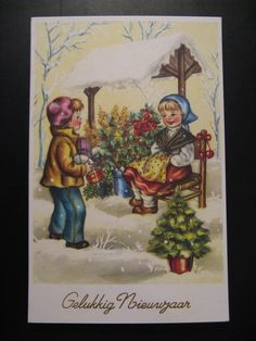 4 x Antique Unused Postcards C 1950 New Year's Wishes | eBay