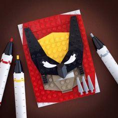 Retrato hecho con LEGO de Lobezno.