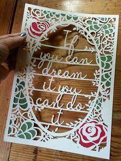 """""""If yiu can dream it, You can do it.""""  Beautiful papercut artwork by paper panda"""