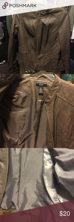 Alfani faux leather jacket Faux leather, taupe, worn only once, no flaws that I can find Alfani Jackets & Coats Blazers