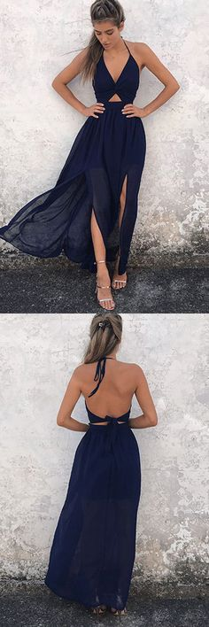 A-Line Halter Navy-Blue Chiffon Backless Prom Dresses, V-neck Prom Gowns #Halter #Vneck #Chiffon #Longpromdress