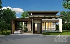 Minimalist home exterior architecture design ideas 52 - If you have a look around any enviable contemporary house, you're guaranteed to observe an abundance of lighting features which permit the room to mod. Modern Bungalow House Design, Modern Tropical House, Minimalist House Design, Minimalist Home, Modern Exterior, Exterior Design, One Storey House, Home Modern, Villa