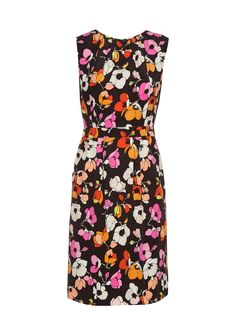 For Pre-AW16 Oscar de la Renta debuts an eye-popping pink and orange floral print, showcased to striking effect on this black silk-jersey pencil dress.