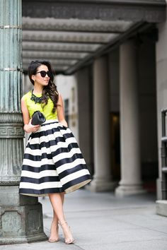 Neon Winter :: Striped midi skirt