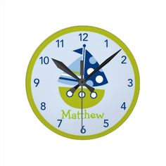 Personalized Nursery Wall Clock  Click on photo to purchase. Check out all current coupon offers and save! http://www.zazzle.com/coupons?rf=238785193994622463&tc=pin