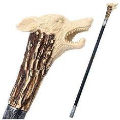 "34"" Poly Resin Wolf Steel Walking Stick Gentleman's Cane"
