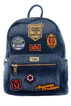 All Over Patches Inspired Casual Denim Canvas Backpack #GetEverythingElse #BackpackStyle