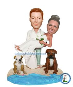 Custom Wedding Bobbleheads Groom Holding Bride On Sand  With Dogs  Free change the color as you like.Custom bobblehead dolls made to look like you! This custom newlyweds bobbles will be a good option to make your gift unique. By making the groom and bride's face bobbling on the black tie wedding bodies, it will hit the ceremony with big fun.Custom bobblehead of a couple hand in hand with their favorite cat & dog stand front waiting for photographer to say cheese.How happy it is!They don't…