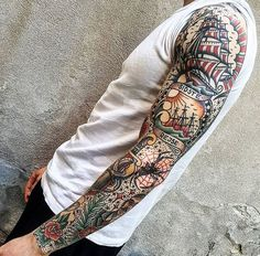 Image result for american traditional clipper ship half sleeve