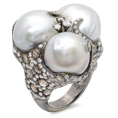 Think pearls are only for senior citizens? Not this stunning CB Luxe Under the Sea Pearl and Diamond Ring.  It's the perfect amount of sexy and rocker chic for any fashionista!  $7,500 www.cbluxe.com