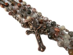 Mexican Laguna Agate Rosary  Perfect For Men by HolyHeirlooms, $55.00