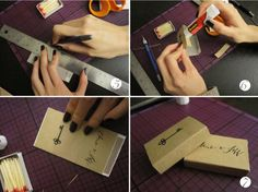 Step 5/6: Trim extra and Apply glue using a glue stick or tacky glue to the bottom of the strip and glue back together the matchbox cover. Step 7: After the glue has dried, insert the box of matches back into the cover and ta-da! Your very own personalized matchboxes!