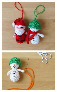 10 Crochet Amigurumi Snowman Free Patterns Crochet Amigurumi Santa & Snowman Christmas Ornaments Free Pattern Always wanted to discover how to knit, yet undecided . Crochet Santa, Crochet Snowman, Crochet Ornaments, Crochet Snowflakes, Crochet Crafts, Crochet Dolls, Crochet Projects, Crochet Christmas Decorations, Snowman Christmas Ornaments