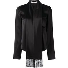 Givenchy scarf lapel blouse (2,345 CAD) ❤ liked on Polyvore featuring tops, blouses, black, long sleeve fringe top, givenchy top, fringe blouse, long sleeve tops and givenchy