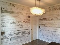 Here's a look at a recent white wall we created using our reclaimed white barn wood skins.  White barn wood walls look soooo good!  #barnwood #reclaimedbarnwood #reclaimedwood #shiplap #franklintn #nashvilletn