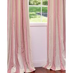 @Overstock - Defined by a unique sheen and fine weave, this exclusive striped faux silk taffeta curtain panel is gorgeous and timeless. This window panel has a crisp smooth finish in color-coordinated stripes.  http://www.overstock.com/Home-Garden/Light-Pink-Cream-Stripe-Faux-Silk-Taffeta-84-inch-Curtain-Panel/5690604/product.html?CID=214117 $83.99