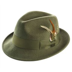 Montique Men's Olive Snap Brim Fedora Felt Hat - Fedoras - Hats