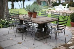 a lovely outdoor table and chairs