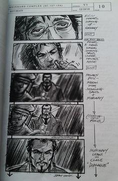 """Sherlock Holmes: A Game of Shadows"" - original storyboard art by David Allcock.  Meinhard Factory scene - key beats, pg. 10"