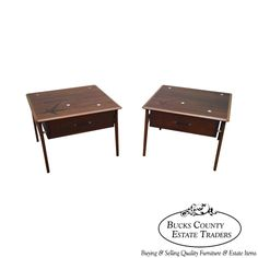 Lane Mid Century Modern Pair of Walnut Star Inlaid Side Tables #MidCenturyModern