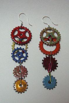 Gear Earrings by Jenine Bressner, via Flickr