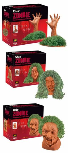 What, Zombie chia pets! Walking Dead Girl, Zombie News, Zombie Life, Chia Pet, Zombie Apocalypse Survival, Best Zombie, Zombieland, Nerd Love, Cool Items