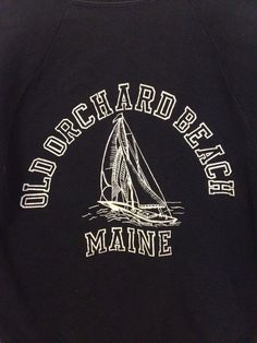Vintage Navy Colour Beach Logo Printed Sweat shirt by polomocha