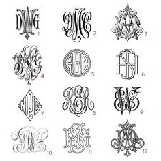 rw monogram | Custom three letter monograms - choose your style, from antique books ...