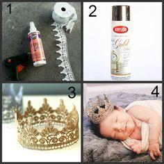 Newborn baby photo prop ideas EASY DIY from www.hamptonphotog... hamptonphotograph...  Trim fabric, glue gun, gold or siler spray paint and fabric stiffener! EASY!!