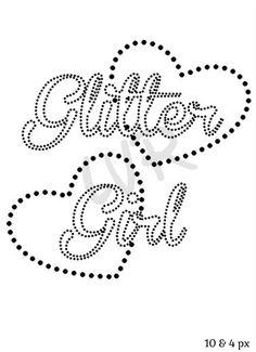 Hearts Glitter Girl Text