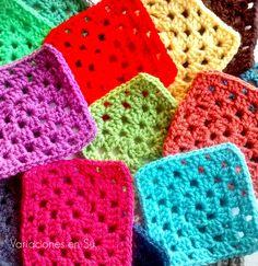 Colorful crochet granny squares.