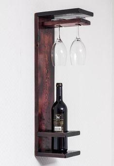 Estante de vino de madera estante de vino rústico titular de | Etsy Wine Shelves, Wine Storage, Wooden Shelves, Crate Shelves, Record Storage, Wooden Crates, Glass Shelves, Wooden Boxes, Wine Glass Holder