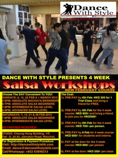 TAKING REGISTRATION FOR NEW SALSA + BACHATA COURSE Buy 1 trial class and get 1 free for a friend or buy a full course for HKD 800 and get a friend to join you for HKD 500/-  beginning from 7th and 8th February on the weekends. Other discount options available as well.  Details at: http://dancewithstylehk.com/salsa-classes/ Please Like: https://facebook.com/dancewithstylehkone Please Like: https://facebook.com/dancewithstylehkone Please Subscribe: https://www.youtube.com/user/DANCEWITHSTYLEHK