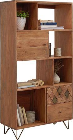 Regal aus Akazien-Holz im afrikanischen Ethno Style Spirit Of Summer, Bronze, Trends, Bookcase, Dining Room, Shelves, Ethno Style, Design, Industrial