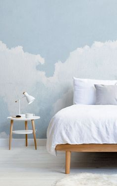"""We asked our store visitors in a survey, """"What type of style, theme, aesthetic, or mood are you trying to achieve in your home?"""" Below, 13 people tell us what their Dream Bedroom would look like – letting us in on their decor tastes, wallpaper choices, and how they want their bedroom to make them feel. We've brought their answers to life – creating their ideal bedroom spaces using some simple styling ideas that are easy to recreate. Read on to grab some great bedroom inspiration… Peaceful Bedroom, Cosy Bedroom, Dream Bedroom, Watercolor Clouds, Watercolor Wallpaper, Wallpaper Design For Bedroom, Japanese Bedroom, Tropical Bedrooms, Art Deco Bedroom"""