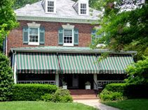 striped awning front porch - green/white