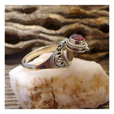 Garnet Poison Ring Size 6, Sterling Silver Poison Ring with Red Garnet... ($114) ❤ liked on Polyvore featuring jewelry, rings, garnet ring, red garnet ring, red ring, garnet band ring and sterling silver cocktail rings