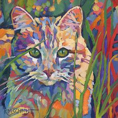 Just Landscape Animal Floral Garden Still Life Paintings by Louisiana Artist Karen Mathison Schmidt: Tiger Tabby fauve impressionist daily oil painting of an orange tabby cat lying in the grass Orange Tabby Cats, Painting Still Life, Animal Paintings, Art Paintings, Original Paintings, Cat Drawing, Art Plastique, Pet Portraits, Cat Art