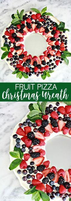 christmas desserts Fruit Pizza Christmas Wreath is the perfect thing to make for your Christmas parties. A light delicious dessert that makes a creative Christmas wreath. Best Christmas Appetizers, Christmas Party Food, Christmas Brunch, Xmas Food, Christmas Sweets, Christmas Cooking, Noel Christmas, Christmas Wreaths, Simple Christmas