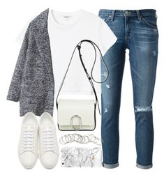 Outfit with jeans and grey coat by ferned on Polyvore featuring Monki, AG Adriano Goldschmied, Yves Saint Laurent, 3.1 Phillip Lim and H&M