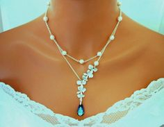 Blue Wedding Necklace Bridal Pearl Jewelry Bermuda Blue Peacock Orchid Necklace Double Strands by InStyleBoutique