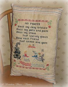 Pillow Handmade Vintage Sampler   Primitive by aprimitiveplace, Available in my Etsy shop
