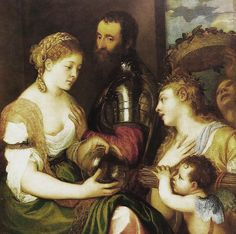 Fantastic hair. Wonder if it is allegorical too. Tiziano Vecellio, Titian (1490 - 1576) - An allegory of Conjugal love, circa 1533