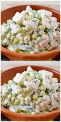 New Recipes, Cooking Recipes, Healthy Recipes, Russian Recipes, Ukrainian Recipes, Pea Salad Recipes, European Cuisine, Tasty, Yummy Food