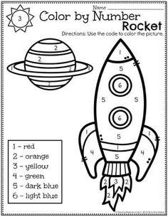 Space Theme Preschool - Planning Playtime - Preschool Activities - Color by Number Coloring - Preschool Lessons, Preschool Worksheets, Preschool Learning, In Kindergarten, Preschool Activities, Teaching, Solar System Activities, Space Activities, Space Theme Preschool