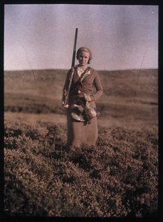 Portrait of a woman hunting, c 1920s.